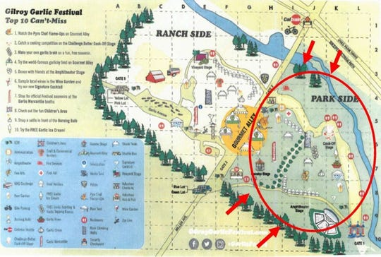 A map of the Gilroy Garlic Festival, with the area where belongings left behind can be retrieved at the Family Assistance Center at Rucker Elementary School, 325 Santa Clara Ave.