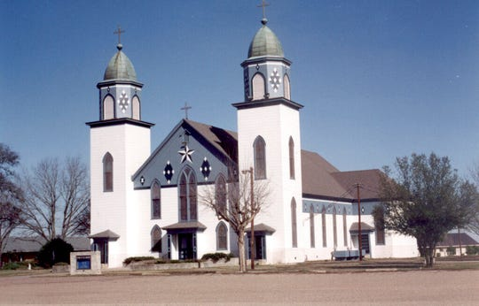 This undated photo provided by the Diocese of Austin shows the Church of the Visitation in Westphalia, Texas. The historic rural Roman Catholic church that has served its surrounding Central Texas farming community for more than a century, burned to the ground, Monday, July 29, 2019.