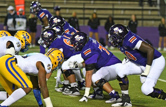 The Northwestern State offensive line has several returners from last season.
