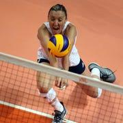 USA Olympian Jordan Larson returns a ball in a game earlier this season.