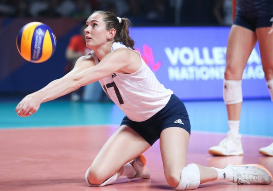 USA Women's National Team member Megan Courtney digs during a tournament earlier this year.