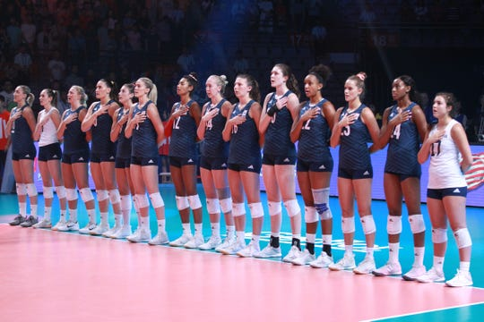 The USA Women's National Team listens to the National Anthem at a match earlier this year.