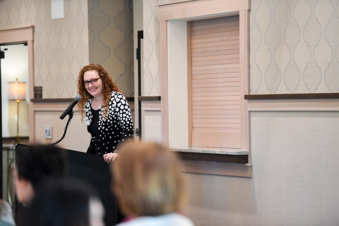Executive director Allison Struck, with the Sioux Falls Public Schools Education Foundation, discusses the importance of the organization's grant program during the last school year at the foundation's annual Innovation in Education breakfast Thursday, Aug. 1, 2019, at the Country Club of Sioux Falls.