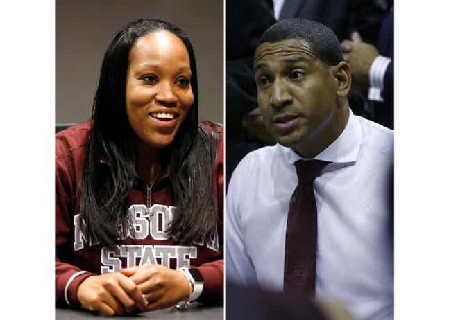 Lady Bears head coach Amaka Agugua-Hamilton and men's basketball head coach Dana Ford