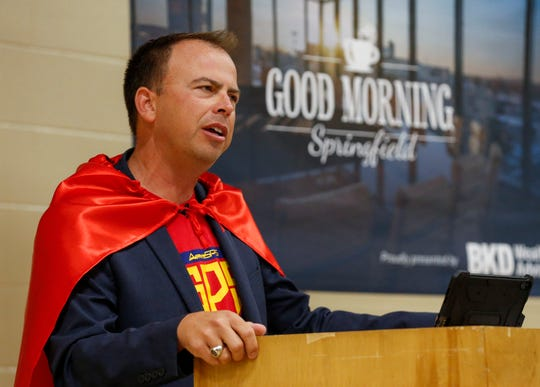 Springfield Public Schools Superintendent John Jungmann delivers the State of SPS speech during Good Morning Springfield at Parkview High School on Thursday, Aug. 1, 2019.