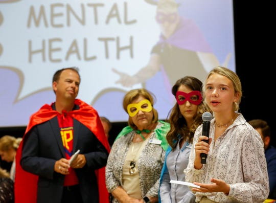 Kickapoo High School junior Natalie Gates talks about mental health during the State of SPS speech during Good Morning Springfield at Parkview High School on Thursday, Aug. 1, 2019.