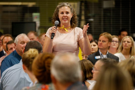 Springfield Public Schools 2019-2020 Teacher of the Year Courtney Dameron speaks during the State of SPS speech during Good Morning Springfield at Parkview High School on Thursday, Aug. 1, 2019.