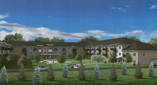A drawing shows a 105-unit apartment building proposed southeast of Heritage Park in St. Cloud.