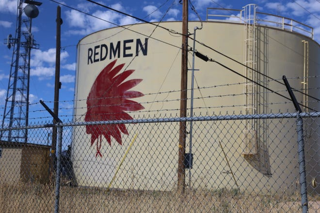 "This water tank on Leigh Hill in Cedar City will become a ""marker"" for the now defunct ""Redmen"" mascot of Cedar High School."