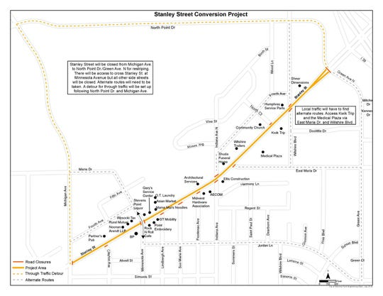 Stevens Point will close Stanley Street next week on Aug. 6 to convert the four-lane road into three lanes as the city adds bike lanes.