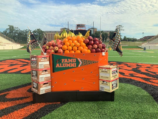 This pallet of fruits, Muscle Milk and Gatorade was delivered to FAMU for the football program on Thursday, Aug. 1 at Bragg Memorial Stadium.