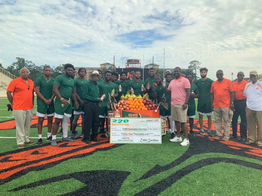 FAMU football players were thrilled to see the first phase nutrition station donated by the 220 Quarterback Club on Thursday, Aug. 1 at Bragg Memorial Stadium.
