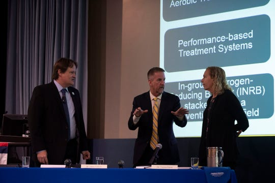 The third meeting of Florida's Blue-Green Algae Task Force included (from left) James Sullivan, Tom Frazer and Valerie Paul, and included presentations from the Florida Department of Health, Florida Department of Environmental protection, public commenters and more, Thursday, Aug. 1, 2019, at Florida Atlantic University's Harbor Branch Oceanographic Institute in Fort Pierce.