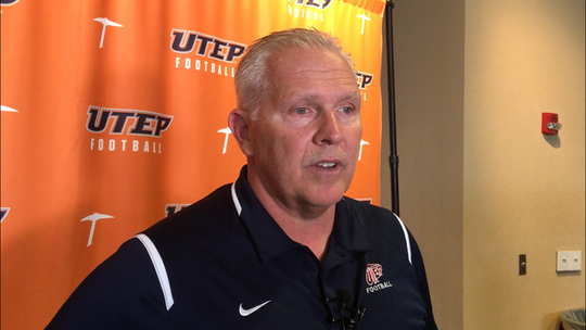 UTEP football coach Dana Dimel discusses the state of the football team at the Durham Center.