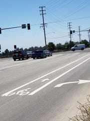 Bike lanes end along westbound Pleasant Valley Road at Lewis Road in the city of Camarillo.