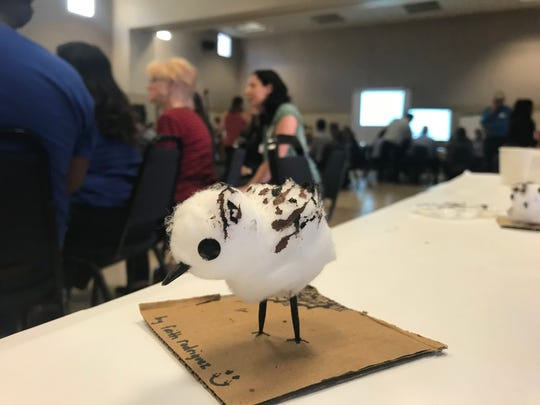 Children who attended a meeting on Ormond Beach restoration last week in Oxnard participated in an art project and turned cotton balls into snowy plovers. The birds call Ormond Beach home and nest there in mid-March.