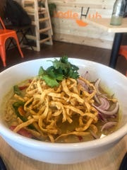 Khao Soi, egg noodles in yellow curry, at Noodle Hub in Tappan.