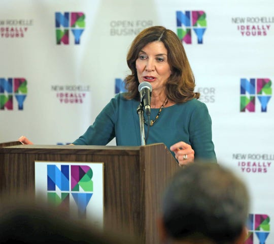 Lt. Gov Kathy Hochul announces the funding that was awarded to New Rochelle for their downtown revitalization project at City Hall in New Rochelle July 31, 2019.