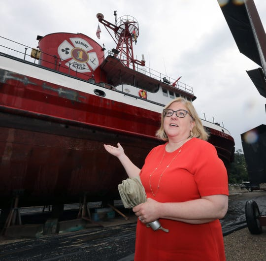 Tracy Conte, president of the Fireboat John D. McKean Preservation Project July 31, 2019. The boat is being repaired at the North River Shipyard in Upper Nyack.