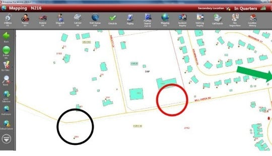 The black circle shows where the house was. The red circle shows where the nearest hydrant was. The green arrows points to the closest known hydrant according to internal maps.