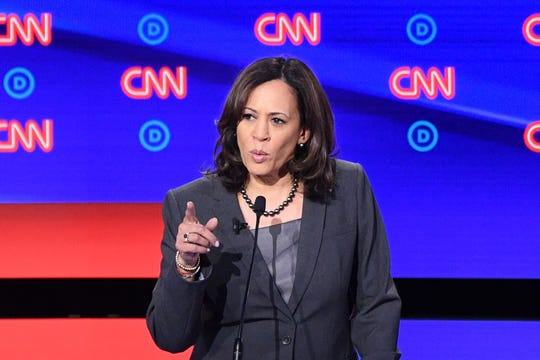 Democratic presidential hopeful US Senator from California Kamala Harris delivers her closing statement during the second round of the second Democratic primary debate of the 2020 presidential campaign season hosted by CNN at the Fox Theatre in Detroit, Michigan on July 31, 2019. (Photo by Jim WATSON / AFP)JIM WATSON/AFP/Getty Images ORIG FILE ID: AFP_1J88N0