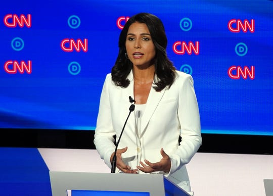 Democratic presidential candidate U.S. representative Tulsi Gabbard of Hawaii speaks during the second night of the Democratic presidential debates at the Fox Theatre in Detroit on Tuesday, July 31, 2019.
