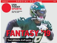 New York Jets running back Le'Veon Bell is one of four cover subjects for USA TODAY Sports' fantasy football 2019 preview issue.