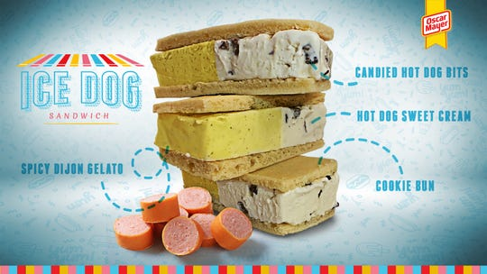 Oscar Mayer announced the Ice Dog Sandwich, which includes spicy dijon gelato and candied hot dog bits.