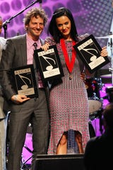 "Lukasz ""Dr. Luke"" Gottwald and Katy Perry at the 27th Annual ASCAP Pop Music Awards Show on April 21, 2010 in Hollywood."