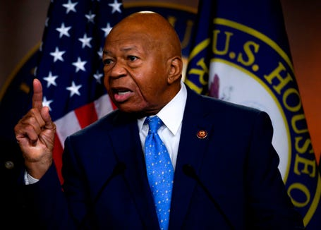 Rep. Elijah Cummings gestures as he delivers a press conference in Washington, DC.