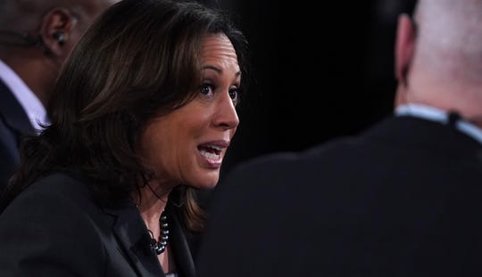 Democratic presidential candidate Sen. Kamala Harris f California speaks during a television interview in the spin room after the democratic presidential debate at the Fox Theatre in Detroit, on July 31, 2019.