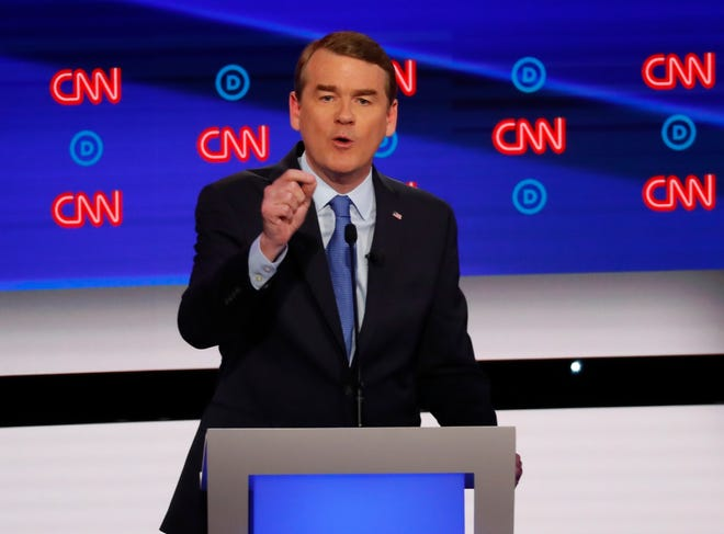 Sen. Michael Bennet, D-Colo., speaks during the second of two Democratic presidential primary debates hosted by CNN Wednesday, July 31, 2019, in the Fox Theatre in Detroit. (AP Photo/Paul Sancya) ORG XMIT: MIMG158