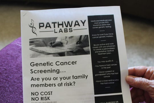Sherry Swan shows the flyer left at her door by a Whole Home Solutions representative. Pathway Labs handled about 20 tests sent in by Whole Home Solutions, then cut ties with the company after receiving complaints about how seniors were being solicited for DNA tests.
