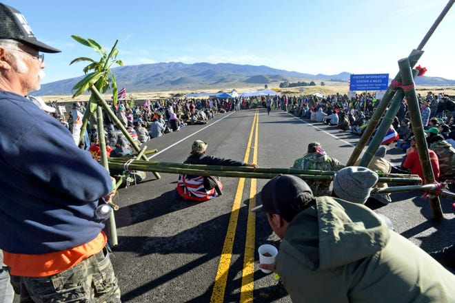 Protesters continue their opposition vigil against the construction of the Thirty Meter Telescope at Mauna Kea on the Big Island of Hawaii Friday, July 19, 2019.