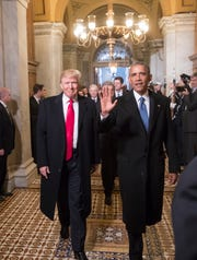 Donald Trump and Barack Obama arrive for Trump's inauguration ceremony at the Capitol in Washington, Friday, Jan. 20, 2017.