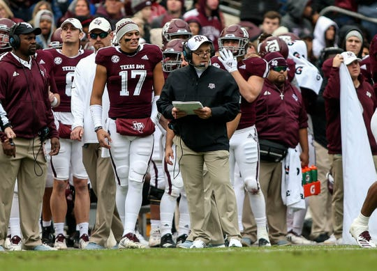 Texas A&M coach Jimbo Fisher looks on from the sideline during his team's game against Mississippi in 2018.