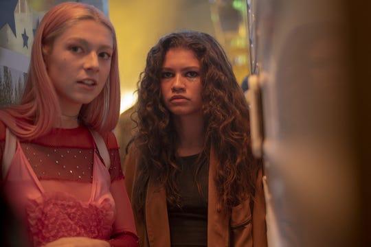 "Jules (Hunter Schafer), left, and best friend/love interest Rue (Zendaya) are torn apart in the Season 1 finale of ""Euphoria."""