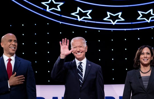 Cory Booker, Joe Biden and Kamala Harris at the Democratic debate in Detroit on July 31, 2019.