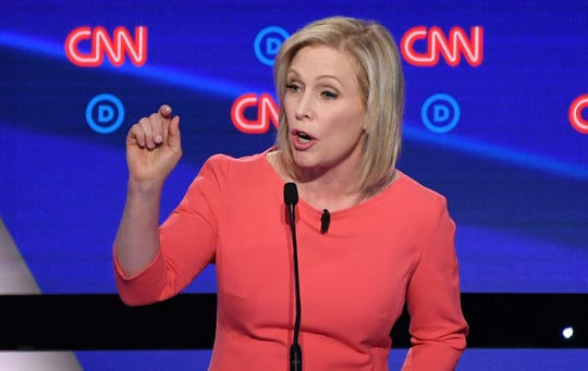 Democratic presidential hopeful US Senator from New York Kirsten Gillibrand speaks during the second round of the second Democratic primary debate of the 2020 presidential campaign season hosted by CNN at the Fox Theatre in Detroit, Michigan on July 31, 2019. (Photo by Jim WATSON / AFP)JIM WATSON/AFP/Getty Images ORIG FILE ID: AFP_1J88D2