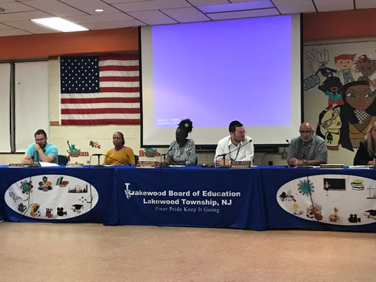 Lakewood Board of Education members meet on Thursday, Aug. 1, 2019.