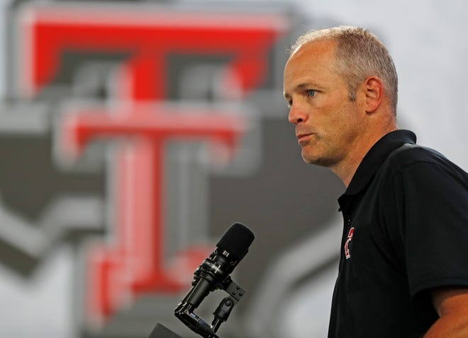 Texas Tech football coach Matt Wells answers questions during a news conference Thursday in Lubbock. (Brad Tollefson/Lubbock Avalanche-Journal via AP)