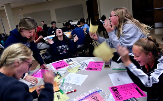 "Craig Middle School eighth-graders vent their frustration at their solution in the ""Algebra Escape Room"" competition April 9. The math contest for advanced students was held at the Abilene Independent School District headquarters downtown."