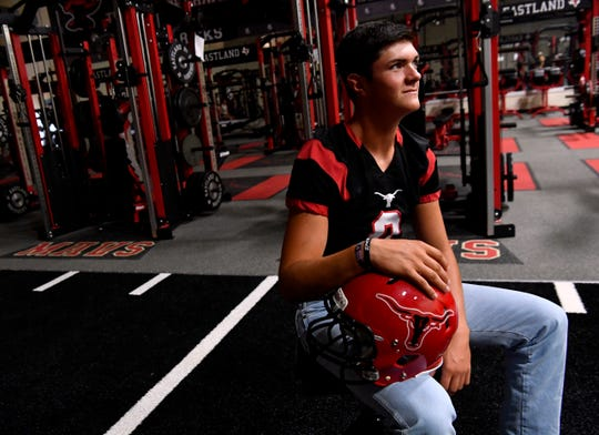 Eastland Mavericks quarterback Behren Morton inside the school's weight room August 1.