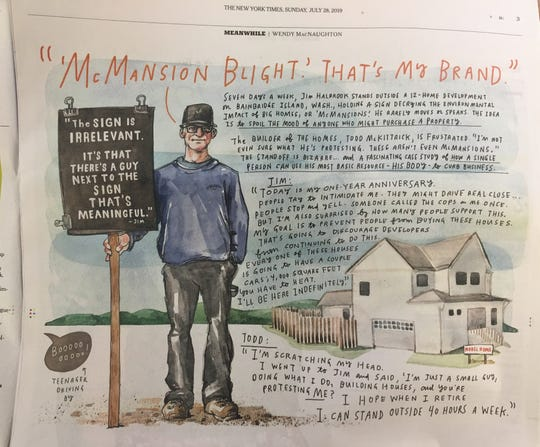 Islander Jim Halbrook's protest appeared in graphical treatment in the Sunday edition of the New York Times.