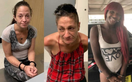 From left, Nicole Mascucci, 40, Sandra Mistele, 50, and Rashad Green, 28, faced prostitution charges after Melbourne police department conducted a prostitution detail Friday between Prospect Avenue and University Boulevard.