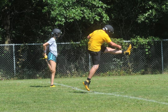 Colonel Crawford's kickers work on kickoffs for the first time this summer.
