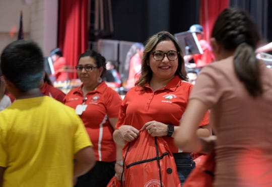 Robstown Independent School District hosts its seventh annual Back to School Rally, Friday, Aug. 2, 2019, in Robstown. The first 500 students in line were given a free backpack filled with school supplies.