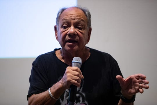 "Cheech Marin speaks following the premiere of the  documentary inspired by his collection of Chicano art shown called the  ""The Cheech"" at the Art Museum of South Texas on Thursday, Aug. 1, 2019."