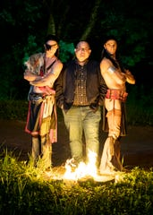 Brandon Smith, center, poses with Tecumseh stars Matt Nelson, right, as Tecumseh and Benedetto Robinson, left, as Tenskwatawa at the Sugarloaf Mountain Amphitheatre. Smith has been the producer and CEO of Tecumseh since 2014.