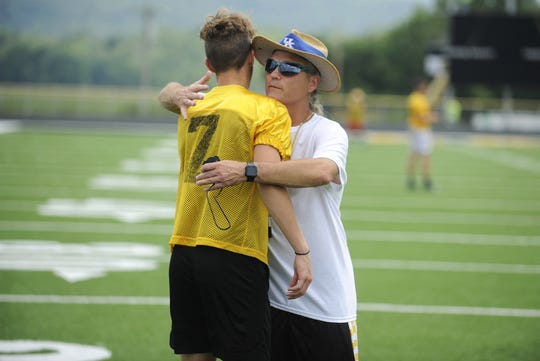 Paint Valley head coach Pete Hollon welcomes players to field at practice on Aug. 1, 2019 at Paint Valley High School in Bainbridge, Ohio.